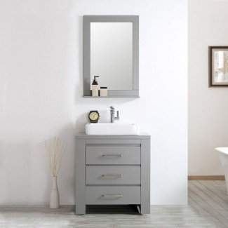 """Juego de tocador de baño individual Kinchen de 30 """"con espejo"""