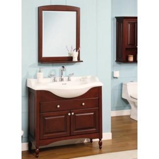 Lavabo de baño de 38 pulgadas con fregadero simple Mueble de baño de muebles de profundidad estrecha ...