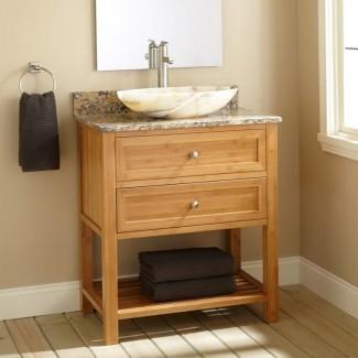 Baño. Tocador de baño de profundidad estrecha con granito ...