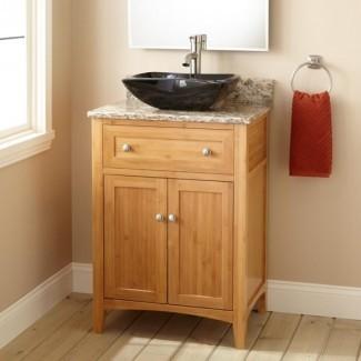 Baño. Tocador de baño de madera marrón oscuro de profundidad estrecha ...