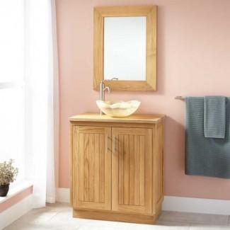 Muebles. Tocador de baño de madera marrón oscuro de profundidad estrecha ...