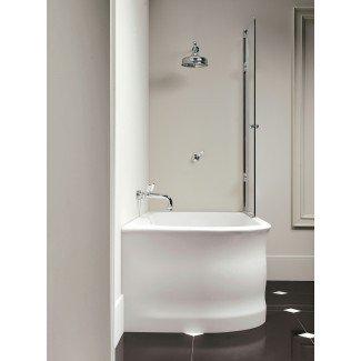 Decoración del hogar: Combo de ducha de bañera de esquina pequeña, pared de baño