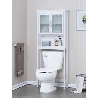 Estante de baño Spirich Home sobre el inodoro, organizador de gabinete de baño con puerta de vidrio templado Moru (blanco)