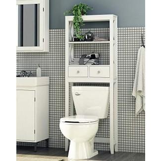 Spirich Home Estante para baño moderno con marco en X sobre el inodoro, estante para baño con dos cajones, ahorro de espacio en el baño, acabado blanco