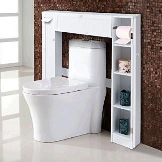 Giantex - Gabinete de almacenamiento para baño sobre el inodoro con puerta abatible de madera Mejoras en el ahorro de espacio, blanco