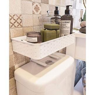 Nourimex Organizador para colocar sobre el inodoro Estante de almacenamiento para el baño Bandeja de espacio para el baño Soporte para papel higiénico Organización Canasta de pie Estantes montados en la pared Mueble de ducha superior Soporte para barra de toallas Box_White