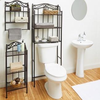 Organizador de estante de almacenamiento de pared para baño, soporte para toalla sobre ...
