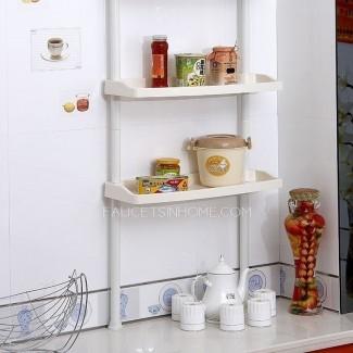 Estantes para baño de plástico blanco ensamblables sobre el inodoro