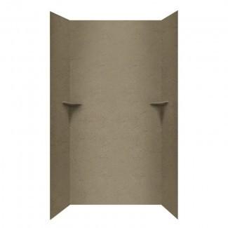 """Pared de ducha de tres paneles de superficie sólida de 96 """"x 48"""" x 36 """""""