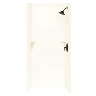 "Pared de ducha de tres paneles con superficie sólida de 96 ""x 36"" x 36 """