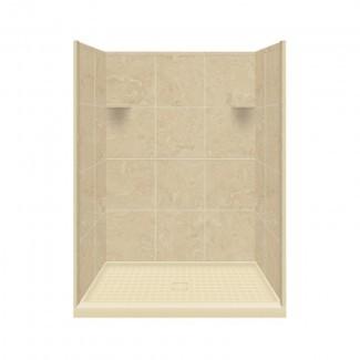 """Superficie sólida 75 """"x 48 x 36"""" Pared de ducha de tres paneles con base"""