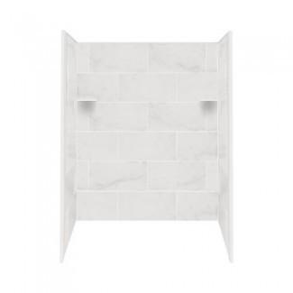Transolid RBE6026-91 Kit de pared para bañera / ducha de superficie sólida, 32 pulgadas x 60 pulgadas x 60 pulgadas, Carrara blanca