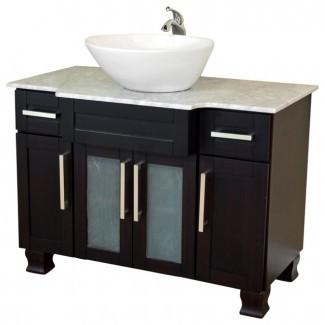 Baño moderno de 40 pulgadas con lavabo simple y caoba oscura ...