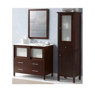 RONBOW Minerva Juego de tocador de baño individual de 37 pulgadas en cerezo oscuro, gabinete de pared y espejo de baño en cerezo oscuro, tapa de lavabo de baño Larisa blanca con orificio de grifo extendido de 8 pulgadas 035836-H01_Kit_3