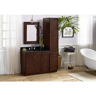 Juego de tocador de baño RONBOW Shaker de 52 pulgadas en cerezo oscuro, tocador de baño con tapa y placa para salpicaduras en granito con botiquín y gabinete de lino, lavabo de recipiente de cerámica ovalado blanco 081936-3L-H01_Kit_1
