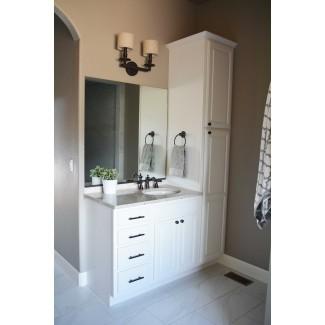 Combinación de tocador y gabinete de lino para baño Mueble de baño ...