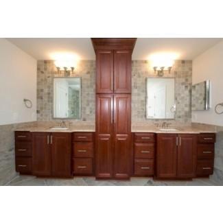 Baño con tocador con referencia de diseño de suelo de gabinete de lino ...