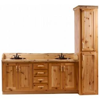 Timberline Log Vanity y gabinete de lino - The Log ...