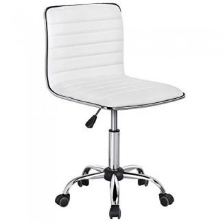 Silla de trabajo ajustable Yaheetech Silla de escritorio de cuero PU de respaldo bajo sin respaldo acanalado giratorio blanco Ruedas de silla de oficina