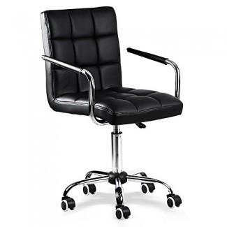 Silla de escritorio Yaheetech - Silla de oficina con brazos / ruedas para adolescentes / estudiantes Computadora doméstica giratoria de piel sintética negra
