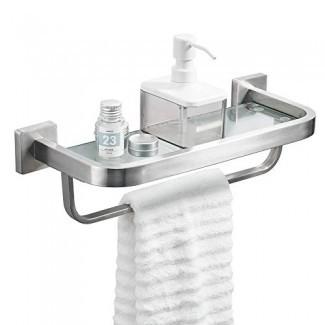 BESy Estante de vidrio para lavamanos para baño con barra de toalla y riel, montaje en pared con tornillos, estantes de almacenamiento de acero inoxidable SUS304 de alta resistencia, base cuadrada, acabado de níquel cepillado