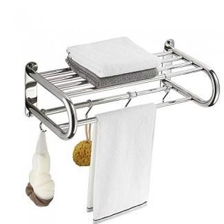 BESy Toalleros de acero inoxidable con estante, Estante de baño ajustable con barra de toalla Varilla y ganchos para montaje en pared, Barras de toallas dobles multifunción estilo hotel, cromo pulido, 15 a 26.8 pulgadas