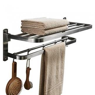 BESy Premium SUS 304 Toalleros de acero inoxidable para baño, Estante de baño plegable con ganchos para barra de toalla, Barras de toallas dobles multifunción Estilo de hotel, Montaje de pared con tornillo, Níquel cepillado, 22 pulgadas