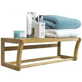 Sorbus Bamboo Wall Shelf Towel Bar, toallero montado en la pared con almacenamiento en estante para artículos de baño y hogar, ideal para baño, spa, sauna y más, estilo escandinavo de madera