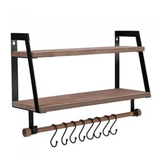 Estantes de pared halcente Estantes de almacenamiento de madera con barra para toallas, estantes flotantes Estante de baño rústico de 2 niveles Estante de especias con ganchos para utensilios de cocina de baño