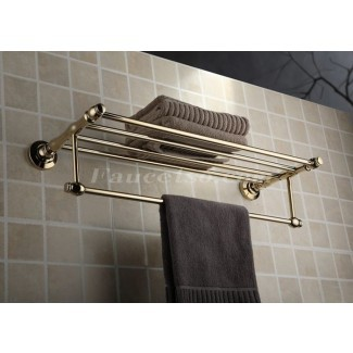 Estante de baño de pared de latón dorado con barra de toalla ...