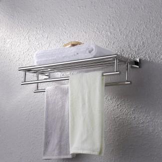 KES Estante de baño de acero inoxidable con toallero con ...