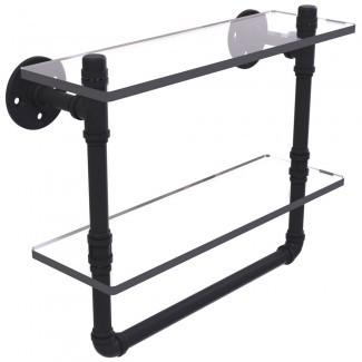 Estante de 2 niveles y 16 pulgadas con barra para toallas en los estantes del baño