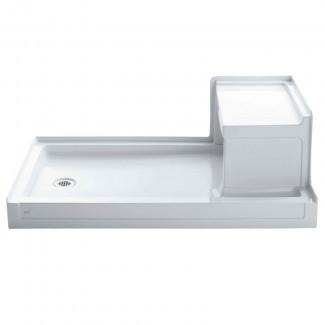"""Tresham 60 """"x 36"""" Base de ducha de desagüe a la izquierda con umbral individual con asiento integral a la derecha"""