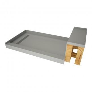 """Base de ducha de umbral simple de 60 """"An. X 34"""" con banco y cubierta de desagüe"""