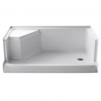 """Memorias 60 """"x 36"""" Base de ducha de desagüe a la izquierda con umbral único con asiento integral a la derecha"""