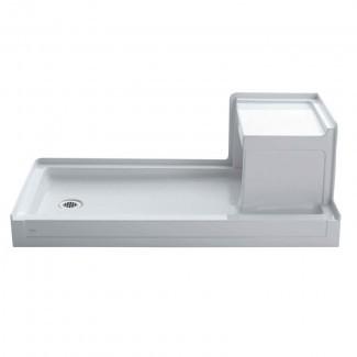 """Tresham 60 """"x 32"""" Base de ducha de desagüe a la izquierda con umbral simple de 60 """"x 32"""" con integral derecha- Asiento de mano"""