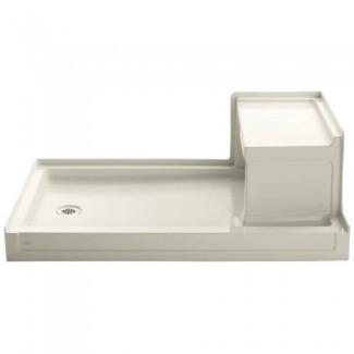 Receptor de ducha Kohler Tresham de 60 pulgadas por 36 pulgadas con asiento integral y desagüe izquierdo