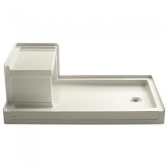 Kohler Tresham Receptor de ducha de 60 pulgadas por 36 pulgadas con asiento integral y desagüe derecho