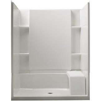 STERLING 72290100-0 Accord 36 pulgadas x 60 pulgadas x 74-1 / 2 pulgadas Kit de ducha de ajuste estándar con asiento, blanco