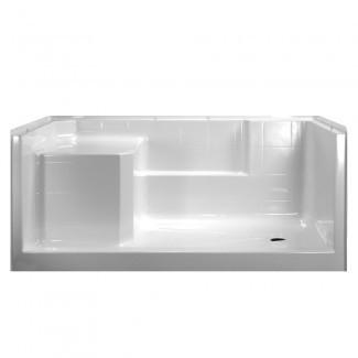 Kit de ducha de bajo umbral Freedom de 60x32 con asiento moldeado ...