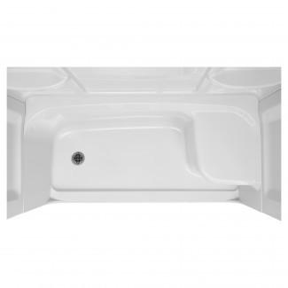 Base de ducha con asiento elevado | Salida de drenaje de la mano izquierda ...