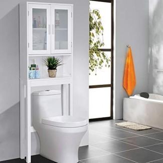Giantex - Ahorrador de espacio para almacenamiento en el baño con estante ajustable y estante ajustable, blanco (2 puertas de vidrio con estante)