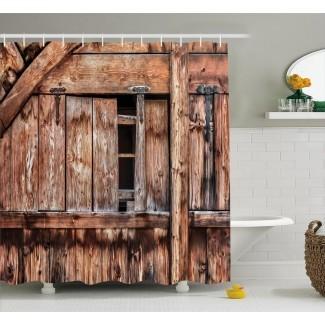 Cortina de ducha simple de puerta de granero abandonada de roble rústico