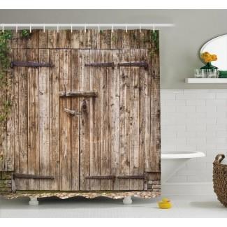 Cortina de ducha + ganchos de puerta de acero de roble viejo vintage + ganchos