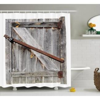 Cortina de ducha individual con puerta de granero de madera rústica envejecida