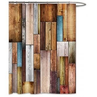 Paneles de madera coloridos de FKOG Cortina de ducha Textura de valla Decoración del baño del hogar Tejido de poliéster Resistente al moho Impermeable - Marrón gris azulado
