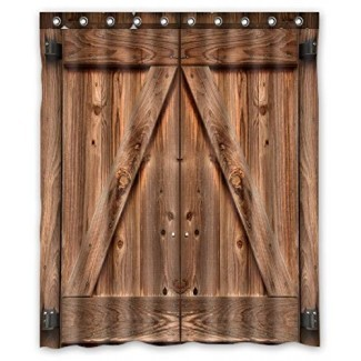 FMSHPON Puerta de granero de madera doble Tela impermeable Cortina de baño Ducha Tamaño 60x72 pulgadas