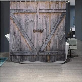 Cortina de ducha de madera rústica Country Barn, diseño de cortina de baño de tela de poliéster impermeable y resistente al moho