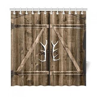 Cortina de ducha de puerta de granero de garaje de madera InterestPrint, puerta de madera rústica vintage con manijas de asta Juego de baño de tela con ganchos, 72 x 72 pulgadas de largo, marrón