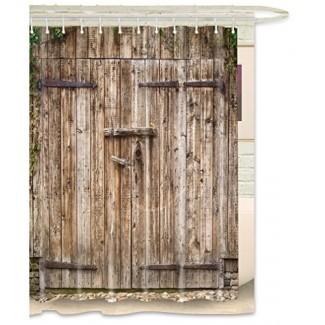 FKOG Cortina de ducha de puerta de granero de madera vintage Puerta de garaje de madera rural Puerta resistente al moho impermeable Tela resistente al moho Blanco Gris Verde